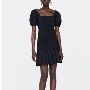 Zara black smocked dress